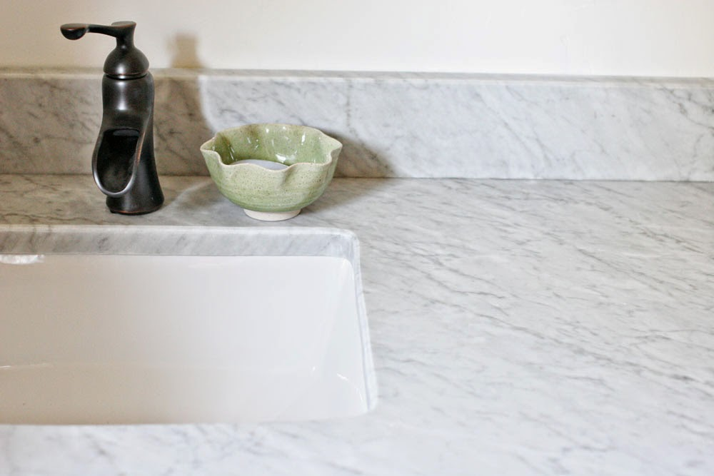 Bathroom Renovation // Honed Carrara Marble Vanity Top