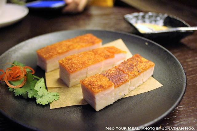 Crispy Roasted Pork Belly at Mott 32 in Hong Kong