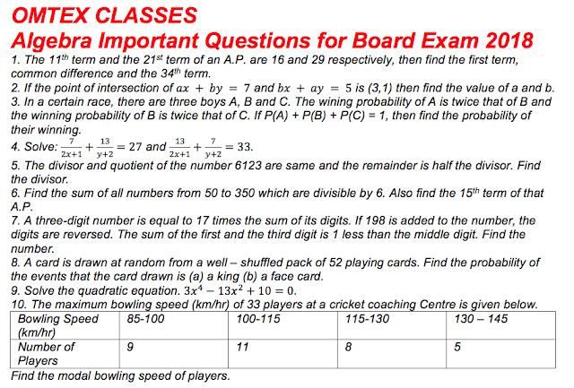 Algebra Important Questions for Board Exam 2018