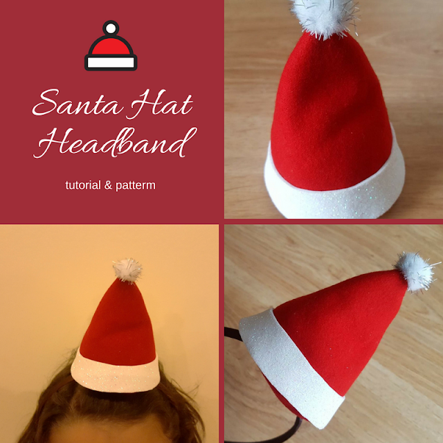 Santa Hat Headband - tutorial & pattern
