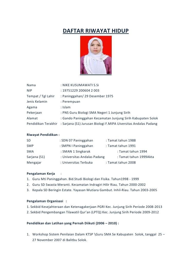 Contoh Daftar Riwayat Hidup 2015 Cv Nabila