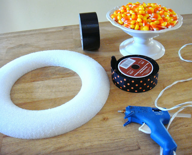 diy candy corn wreath supplies