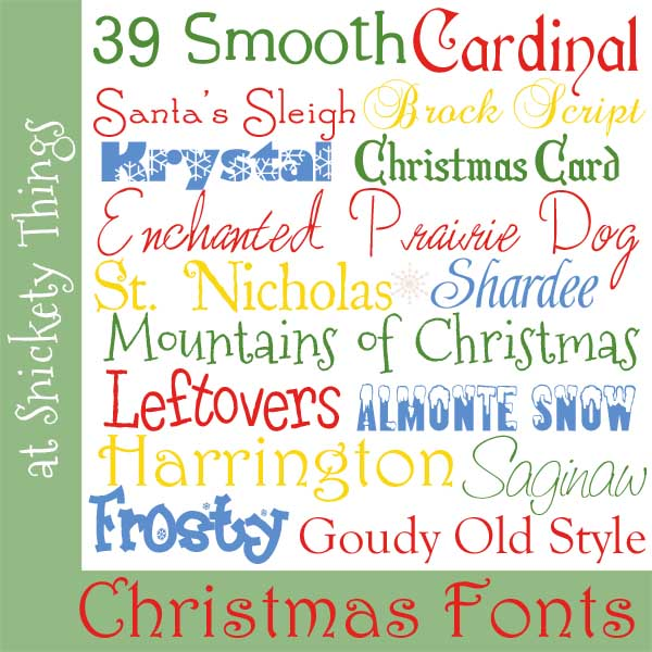 Snickety Things: My favorite Christmas fonts
