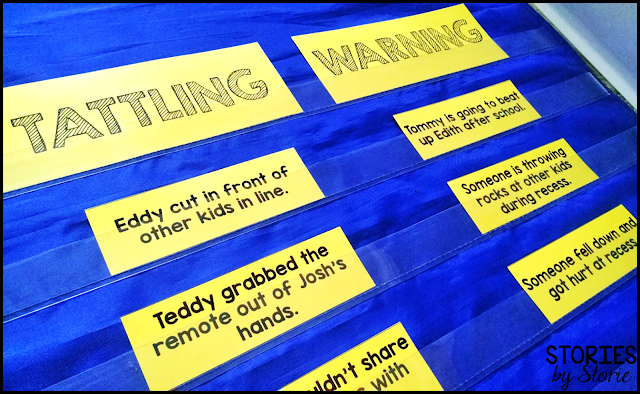 Once your students have read the story, A Bad Case of Tattle Tongue by Julia Cook, they can complete this sorting activity. Students will identify whether a situation would be tattling or giving a warning (or reporting).