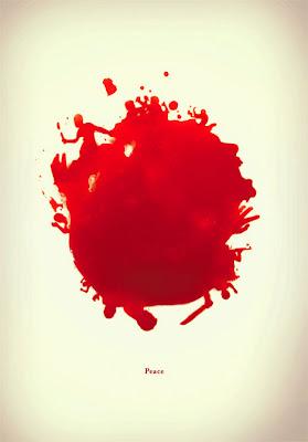 Cartel impactante con manchas de sangre