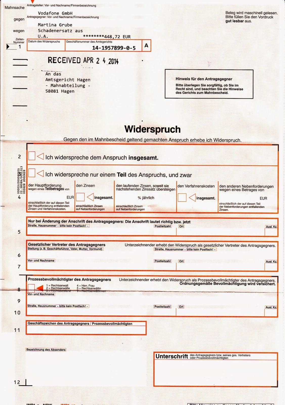 Vodafone Mahnbescheid Trotz Kündigung Vodafone 201314