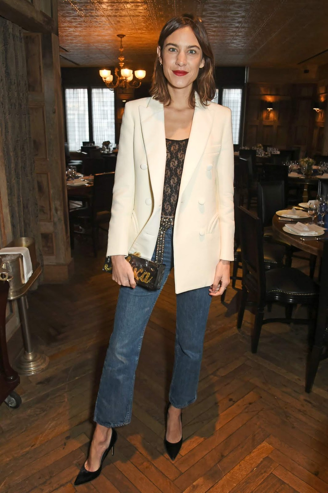 Last-Minute Holiday Party Look From Alexa Chung — White Blazer, Lace Top, Jeans, and Black Pumps