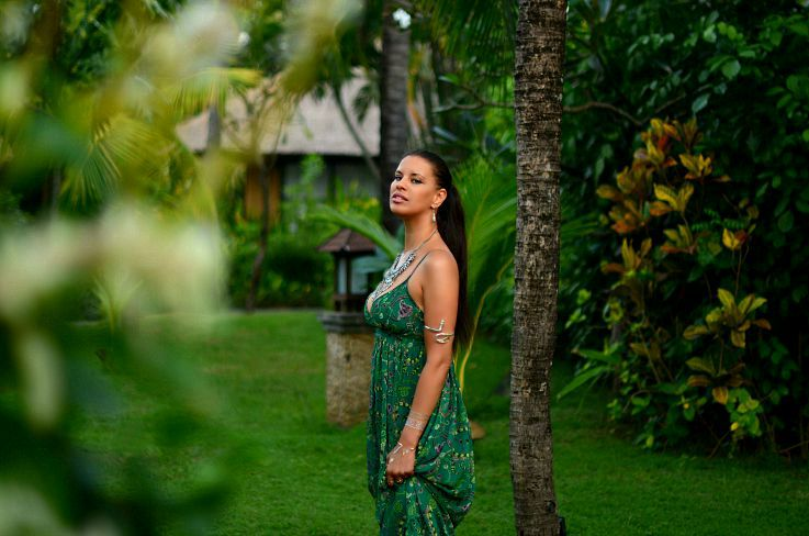 Bali, Indonesia, LookBook Store Green printed maxi dress, Coin necklace, Myca Couture, Legian Beach hotel, Flash tattoo,Tamara Chloé, TC Style Clues