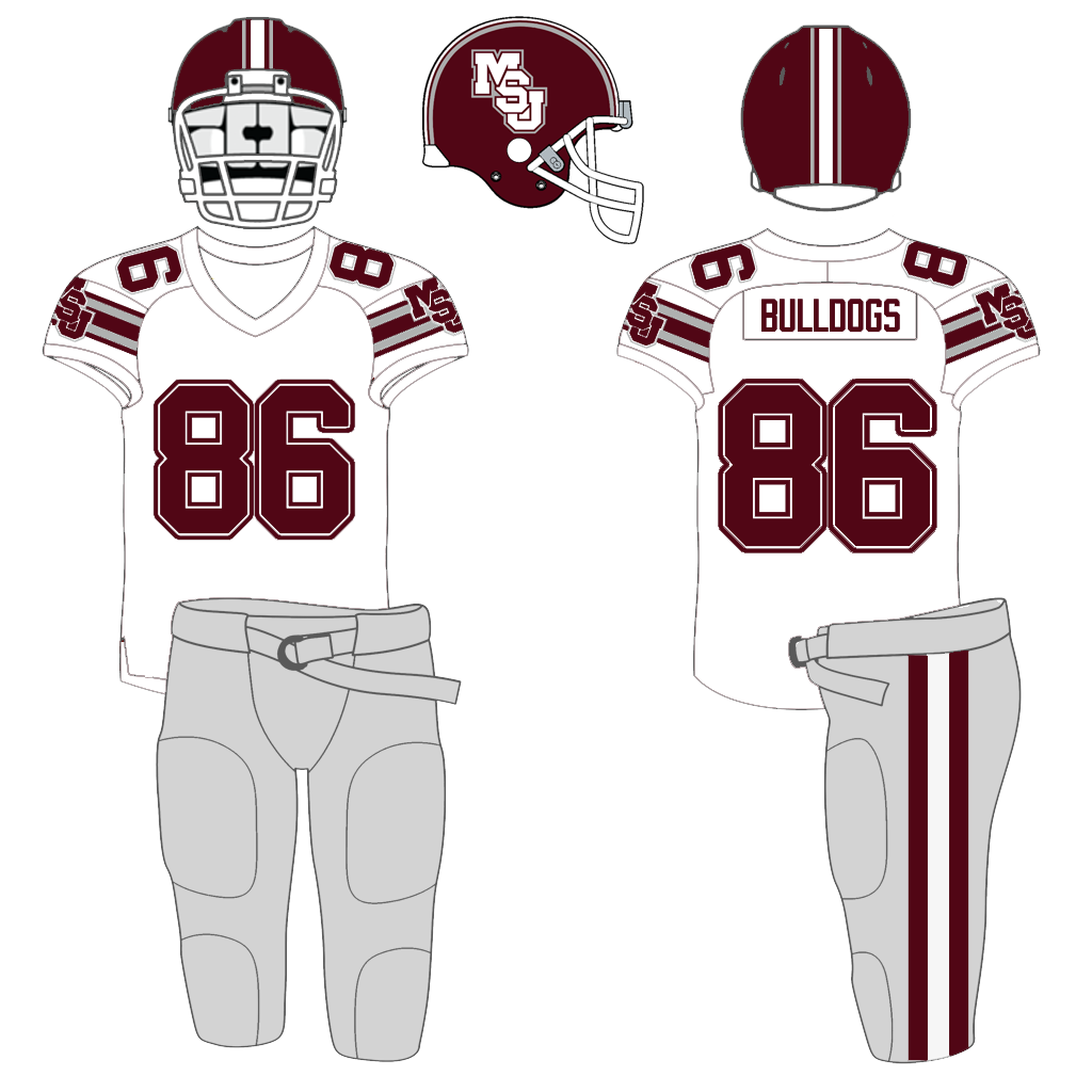 "61a15522703 The 86 uniforms added a new slanted ""MSU"" logo to the helmets, and  introduced silver into the color scheme."