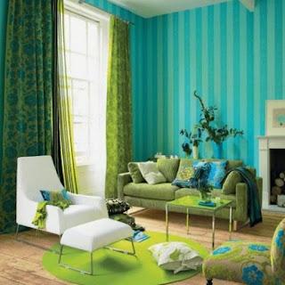 Sala color turquesa y verde