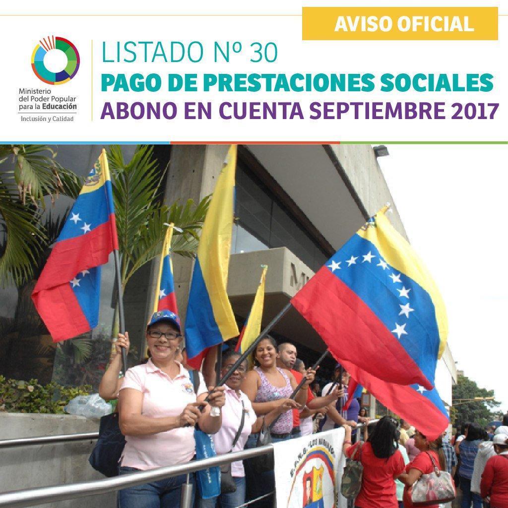 LISTADO Nº 30 PAGO DE PRESTACIONES SOCIALES ABONO EN CUENTA SEPTIEMBRE 2017