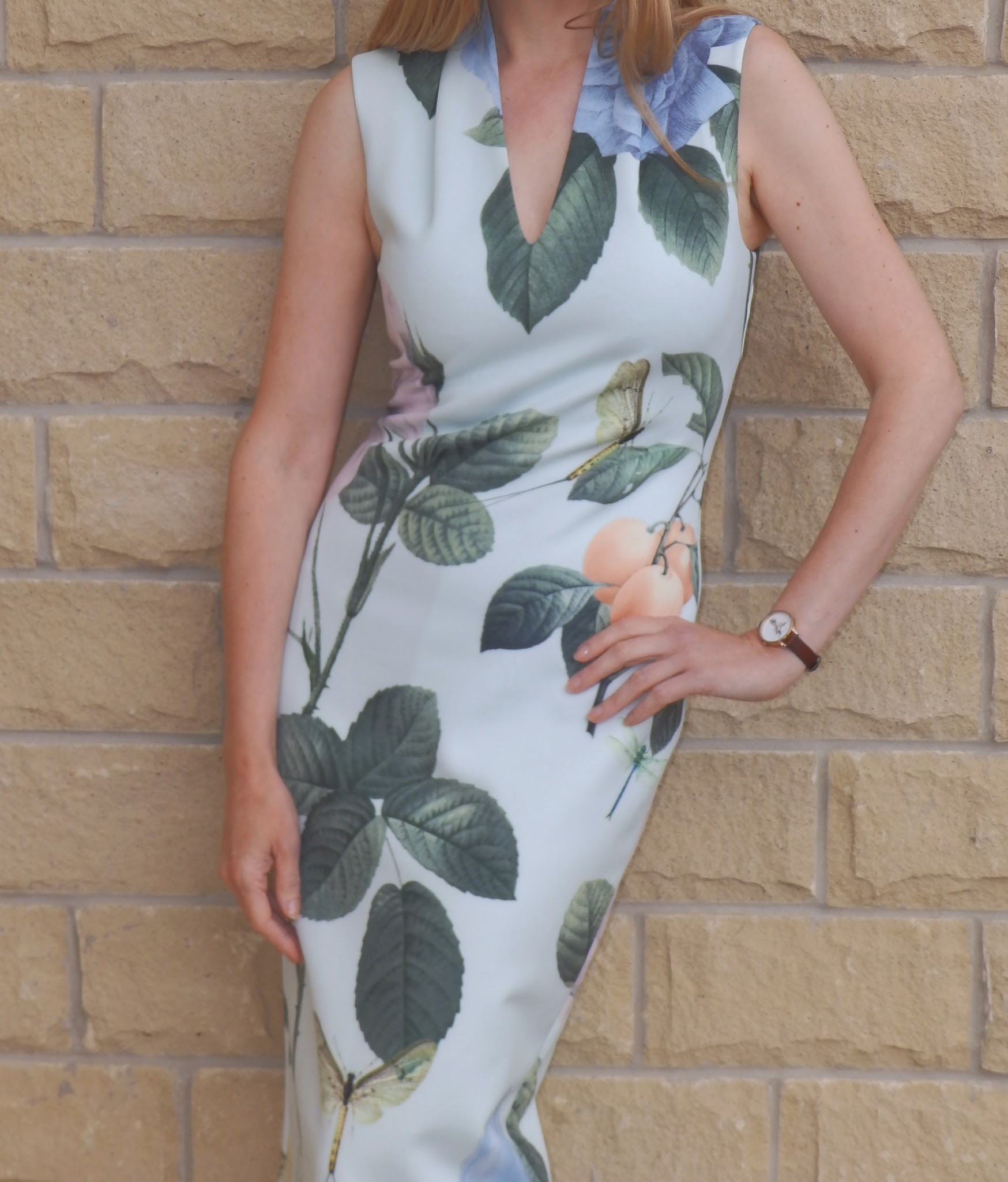 What Lizzy Loves wearing Ted Baker Ravina Distinguishing Rose midi dress and glitter Jimmy Choos
