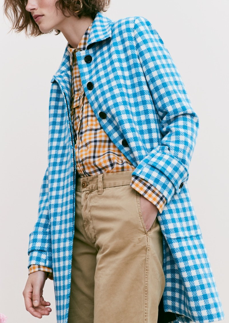J. Crew Gingham Car Coat, Boyfriend Shirt in Topaz Plaid, Boyfriend Chino Pant and Gold Circle Earrings