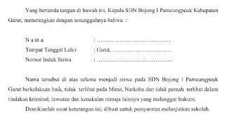 Surat Keterangan Kelakuan Baik dari Sekolah doc