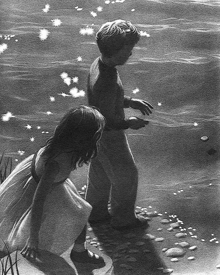 a Chris Van Allsburg book illustration of children at the beach skipping a stone
