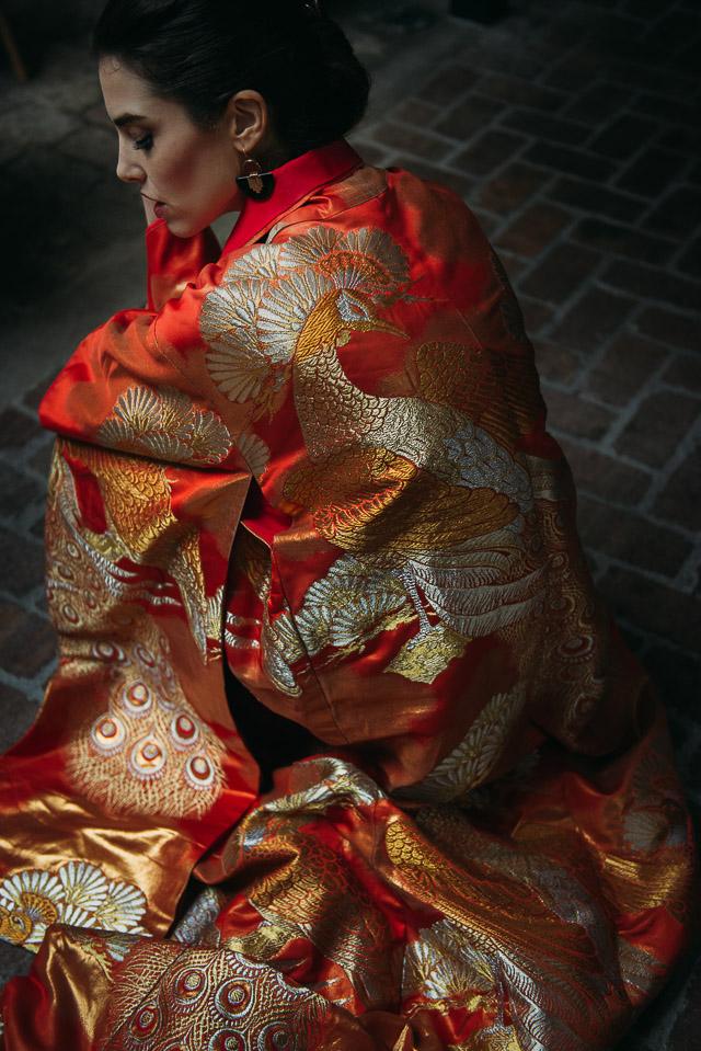 novia inspiración oriental kimono original arriesgada blog bodas