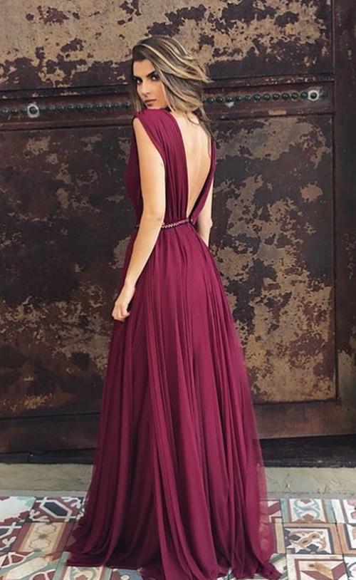 vestido longo marsala vinho