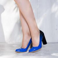 Pantofi dama Fabiola albastru si negru cu toc gros • modlet