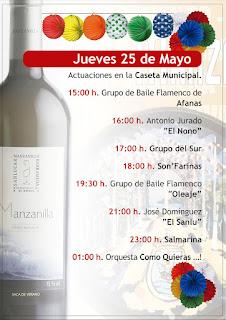 Feria de la Manzanilla 2017 - Programa día 25 de mayo