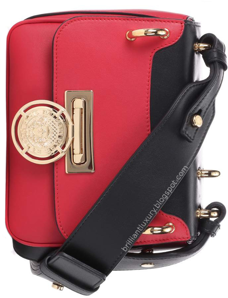 Brilliant Luxury ♦ Balmain Domaine 18 red leather shoulder bag