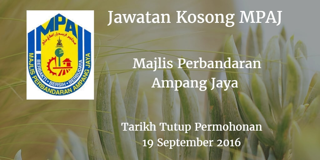 Jawatan Kosong MPAJ 19 September 2016