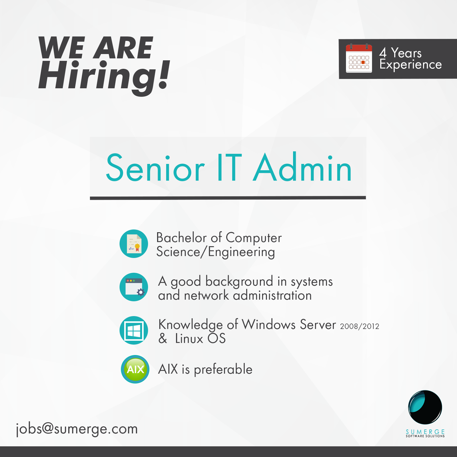 latest jobs and vacancies currently they are looking for networking system admin jobs the title senior it admin and the position requirements includes bachelor of computer