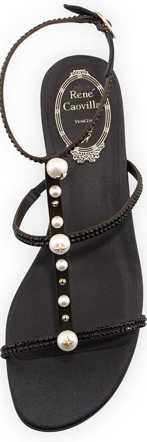 Rene Caovilla Embellished T-Strap Sandal, Black
