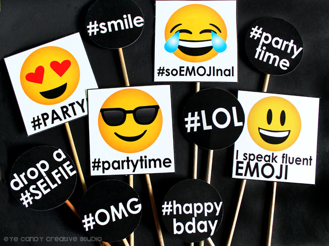 emoji party photo props, emoji birthday party photo booth props