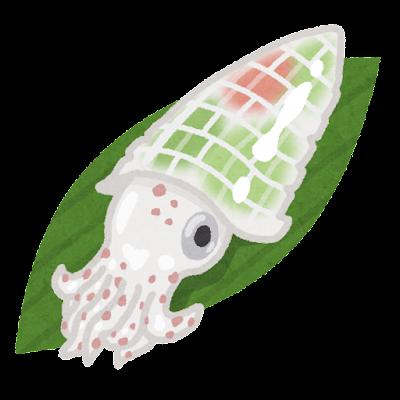 イカの活き造りのイラスト