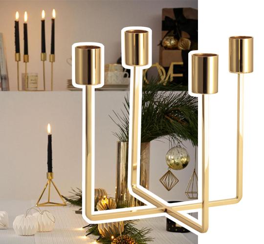 Ljusstake i guldfärgad metall, H&M Home | www.var-dags-rum.se