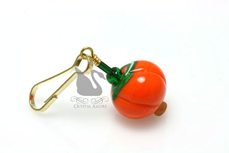 Pumpkin Lampwork Petite Beaded Purse Charm Zipper Pull (ZP100)