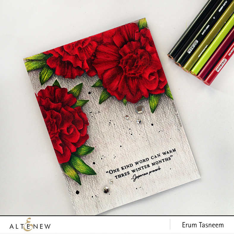 Altenew Camellia Build-A-Flower pencil colored using Prismacolor pencils by @pr0digy0