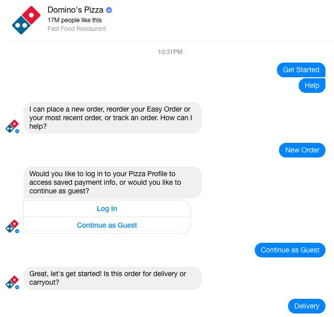 Order Food On Facebook Messenger