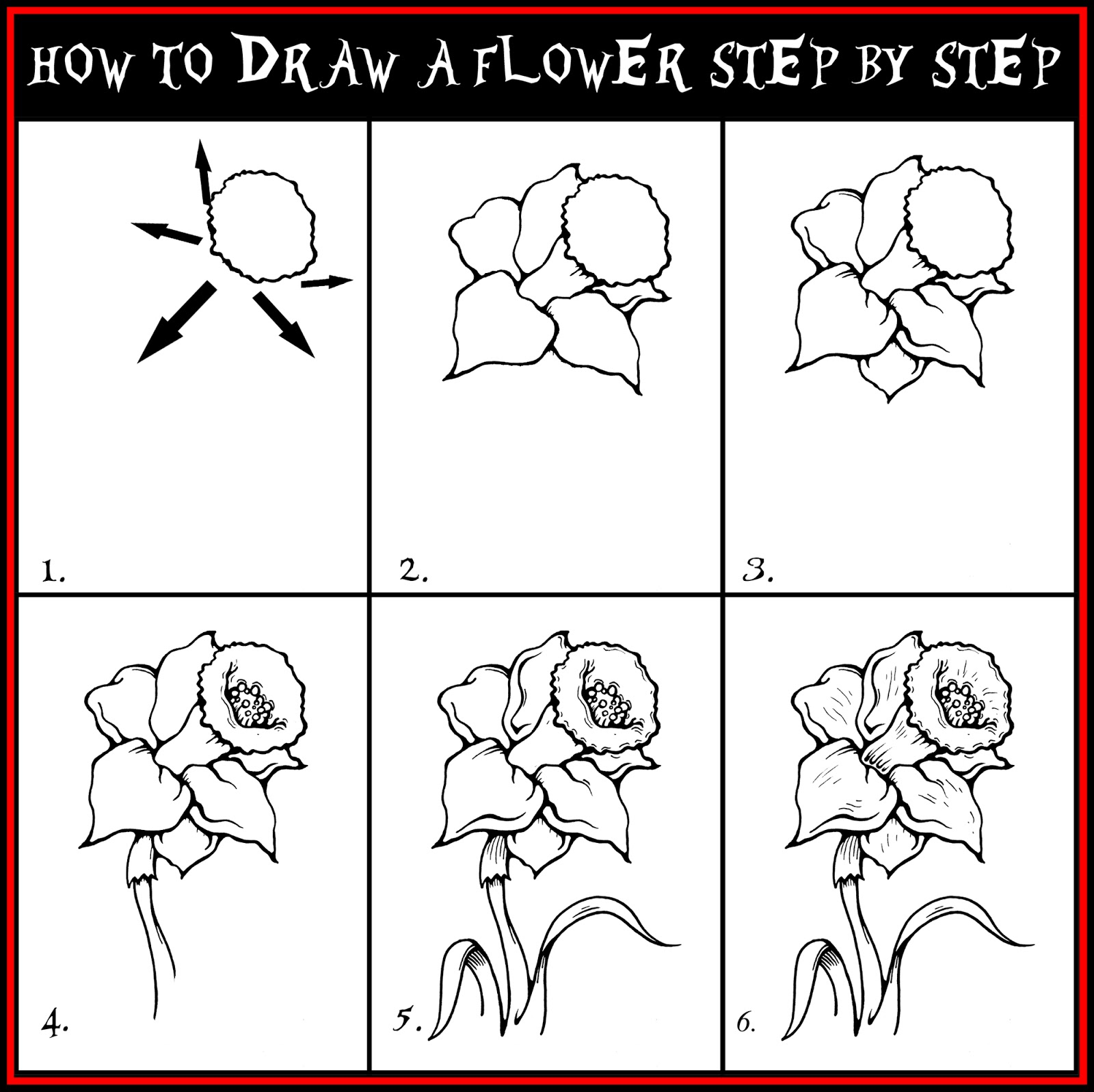 DARYL HOBSON ARTWORK: How To Draw A Flower Step By Step ...