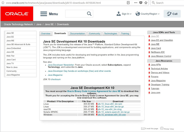 Java SE Development Kit 10 Downloads