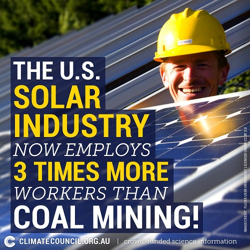 Poster of the Week - The U.S. Solar Industry Now Employs 3 Times More Workers than Coal Mining! (Credit: ClimateCouncil.org.au)