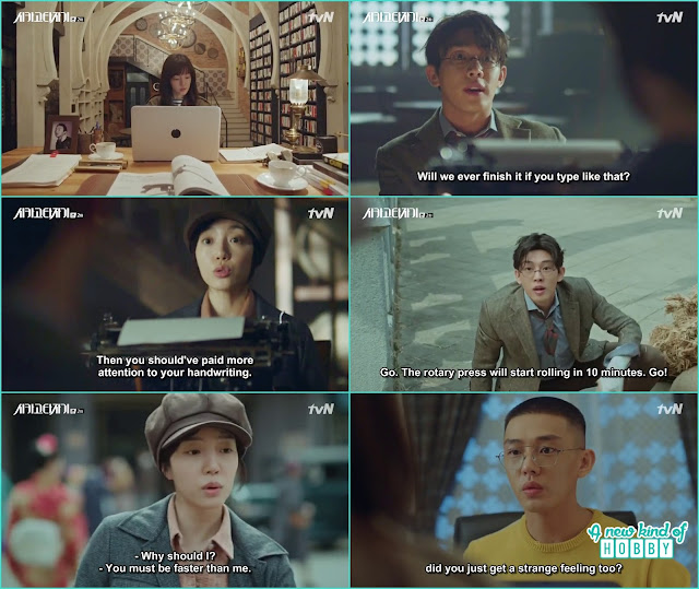 while writing the draft jeon seol and so joo got flashback from 1930 - Chicago Typewriter: Episode 2
