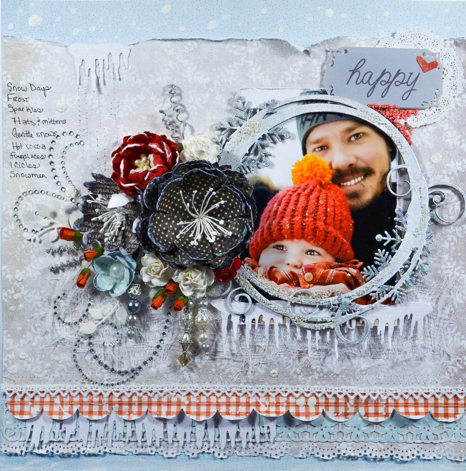 Winter themed scrapbooking layout page with icicles, cheesecloth, crystal flourishes, bead dangles, glitter, puff paint, snowflakes, and gingham, Blue Fern Studios chipboard, handmade flowers. In red, gray, pale blue, and black. Heat embossed and embellished with prills.