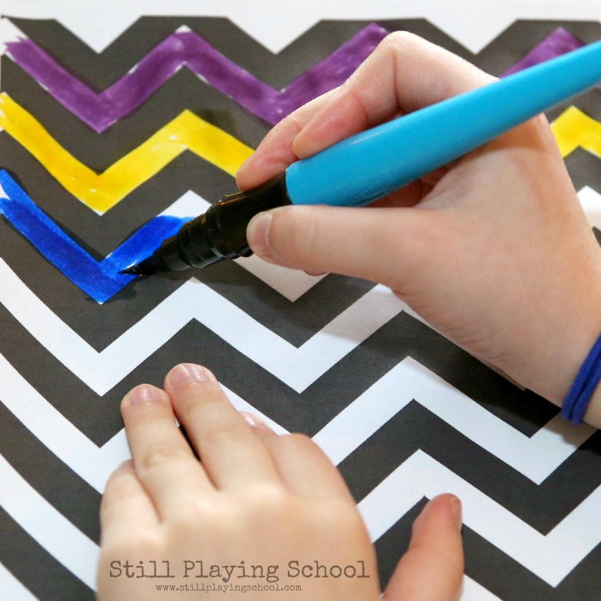 Chevron Pre Writing Easter Egg Craft For Kids