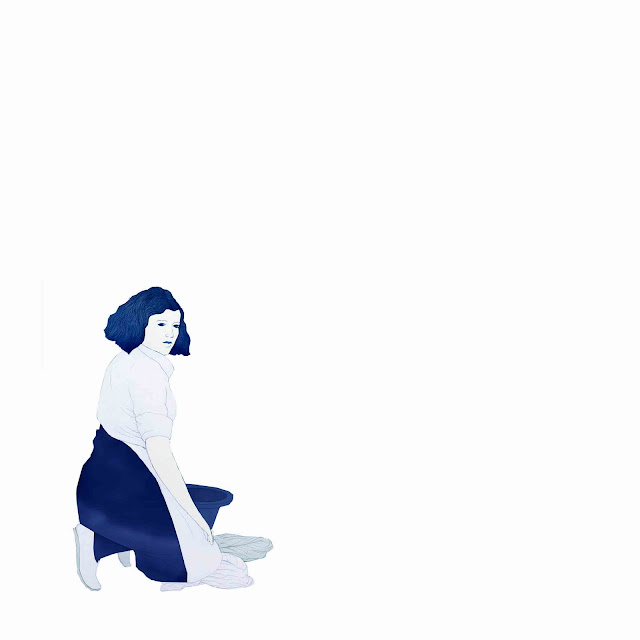 azulejo, cerámica azul, mujer, de rodillas