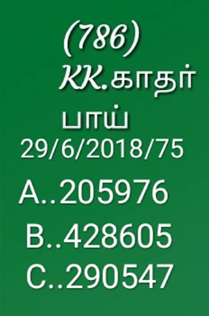 kerala lottery abc all board guessing on 29-06-2018 by KK nirmal NR-75