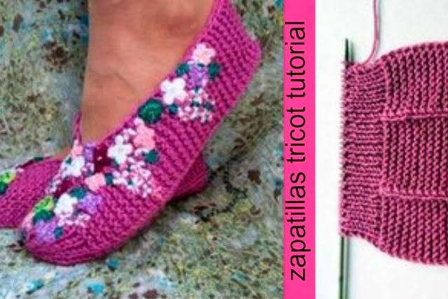 zapatillas a tricot bordadas