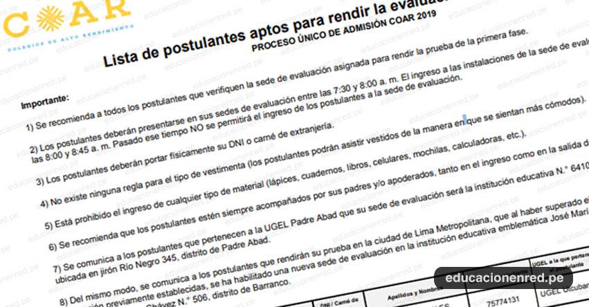 COAR: Lista de Postulantes Aptos para Rendir Evaluación Primera Fase el 16 Febrero 2019 (.PDF) Colegios de Alto Rendimiento - www.minedu.gob.pe