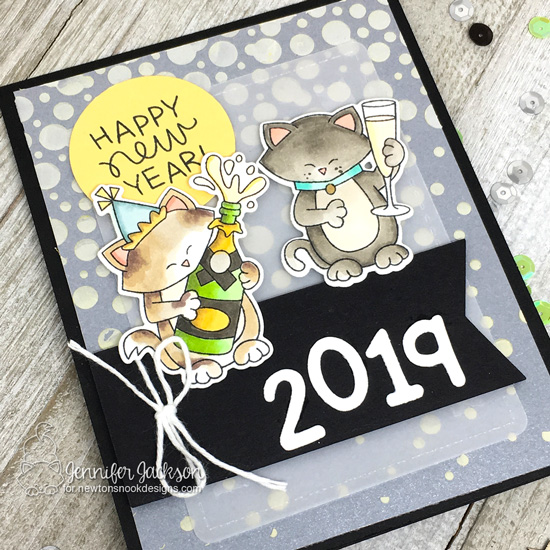 Season's Givings Blog Hop | New Years card by Jennifer Jackson | Newton Celebrates and Newton's New Year Stamp Sets and Bubbly Stencil #newtonsnok #handmade