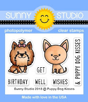 Sunny Studio Stamps: Introducing Pup Dog Kisses 2x3 Photopolymer Clear Stamp Set