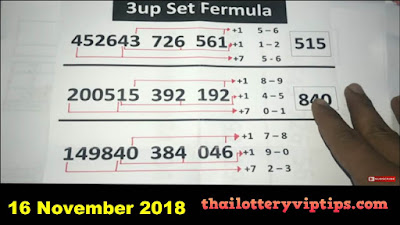 Thai lottery super tips king of calculator 3UP Tips 16 November 2018