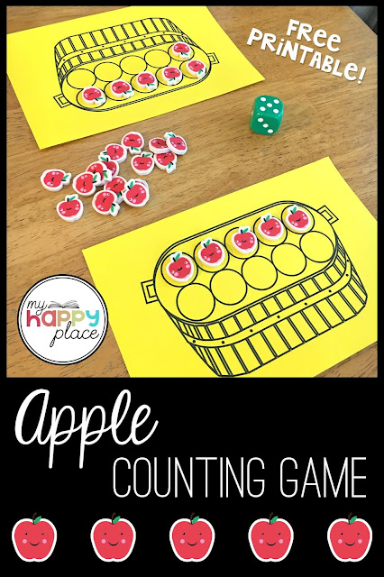 Apple Counting Game with Dice and Mini-Erasers