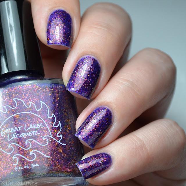 purple nail polish with multichrome flakies