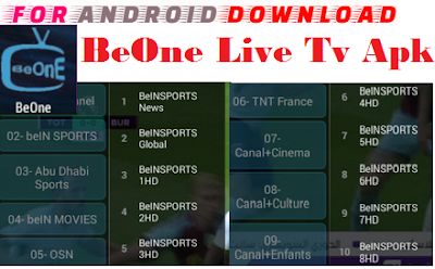 Download Android Free BeOneTV Apk -Watch Free Live Cable Tv Channel-Android Update LiveTV Apk  Watch Live Premium Cable Tv,Sports Channel,Movies Channel On Android