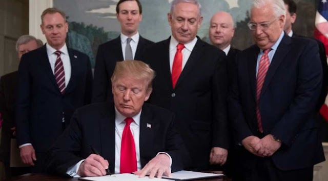 Donald Trump signs proclamation recognising Israel's sovereignty on Golan Heights